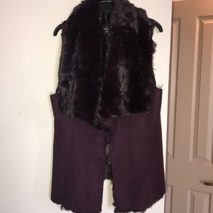 Suede and  Fake Fur Vest with inside fur lining